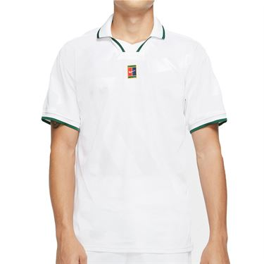 Nike Court Breathe Slam Polo Shirt Mens White/Gorge Green CK9795 100