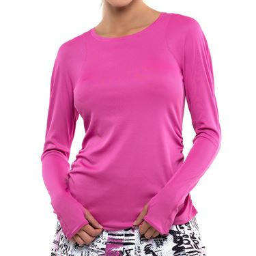 Lucky in Love City Graffiti Crew Neck Rib Long Sleeve Top Womens Passion Pink CT155 689