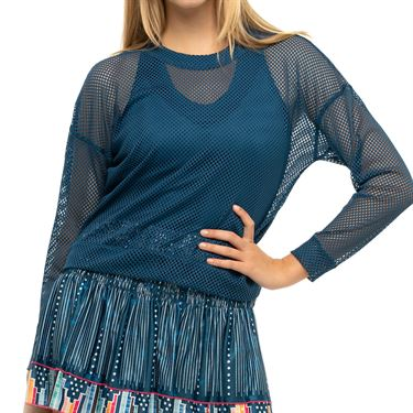 Lucky in Love Pretty In Ink Mesh Long Sleeve Pullover Womens Indigo CT604 402