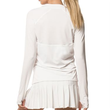 Lucky In Love Core High Low Long Sleeve Top Womens White CT616 110