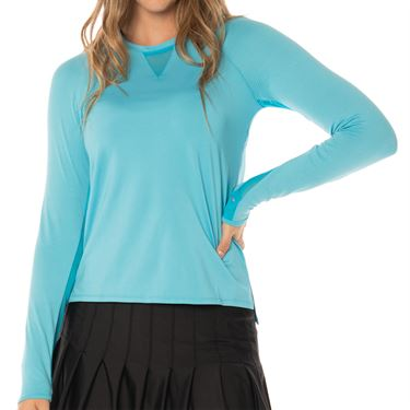Lucky In Love Core High Low Long Sleeve Top Womens Ocean CT616 410