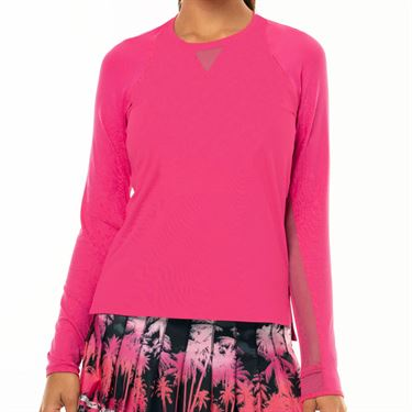 Lucky In Love Tropic Chroma High Low Long Sleeve Top Womens Shocking Pink CT616 645