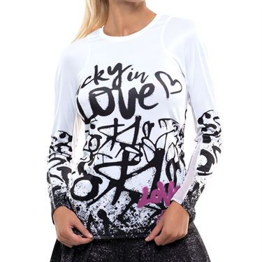 Lucky in Love City Graffiti Love Tag Rib Long Sleeve Top Womens Black/White/Passion Pink CT631 E13001