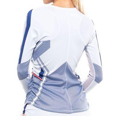 Lucky in Love Kinetic Energy Stripe Long Sleeve Top Womens Cobalt CT631 E49406