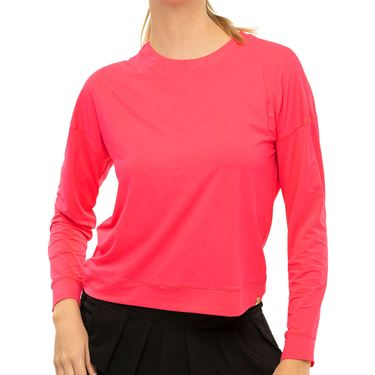 Lucky In Love LUV Hyper Long Sleeve Top Womens Coral Crush CT668 647