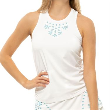Lucky in Love Eyelet Embroidery Ruche Tank Womens White/Breeze CT691 B92422