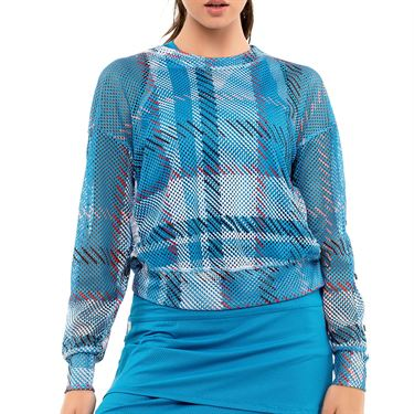 Lucky in Love Post A Plaid Checkin Out Long Sleeve Pullover Womens Turquoise CT747 G64409