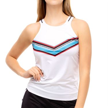 Lucky in Love Post A Plaid Color Block Tie Tank Womens White CT752 G65110