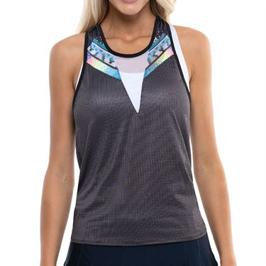 Lucky in Love Square Are You Grid Bralette Tank Womens Black CT770 E35001