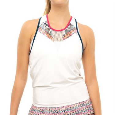Lucky in Love Pretty In Ink Think Ink Tank Womens White CT770 G90110