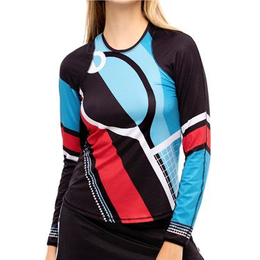 Lucky in Love Post A Plaid Racquet Power Long Sleeve Top Womens Black CT785 G93001