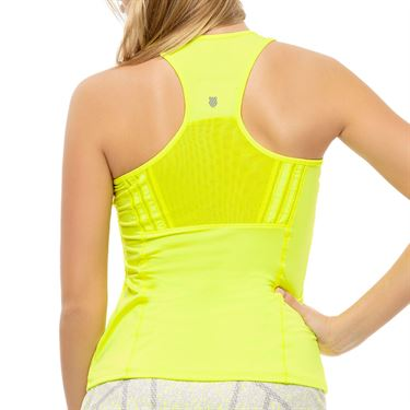 Lucky in Love Nice To Pleat You Center Line Tank Womens Neon Yellow CT789 710