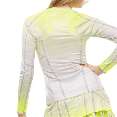 Lucky in Love Nice To Pleat You Pleat It Up Long Sleeve Top Womens Neon Yellow CT792 H45710