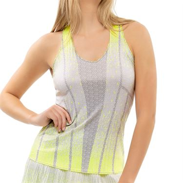 Lucky in Love Nice To Pleat You Pleat Dont Go Tank Womens Neon Yellow CT793 H47710