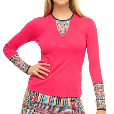 Lucky in Love Pretty In Ink Think Ink Long Sleeve Top Womens Shocking Pink CT803 G90645
