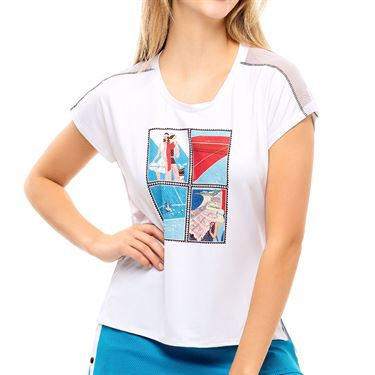 Lucky in Love Post A Plaid Stamp It Tank Womens White CT804 G95110