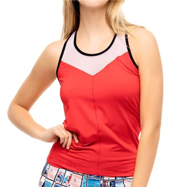 Lucky in Love Post A Plaid Fly High Tie Tank Womens Red CT810 610