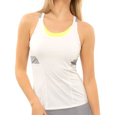 Lucky in Love Nice To Pleat You Viva Tank Womens Neon Yellow CT818 710