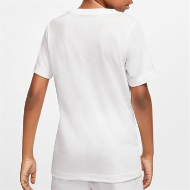 Nike Boys Court Dri Fit Rafa Tee Shirt White/Digital Pink CU0337 100