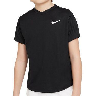 Nike Court Boys Dri Fit Victory Tee Shirt Black/White CV7565 010