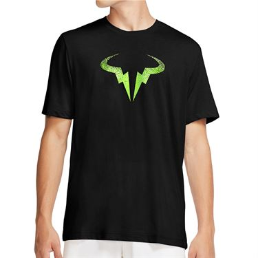 Nike Court Dri Fit Rafa Tee Shirt Mens Black/Volt CW1534 010