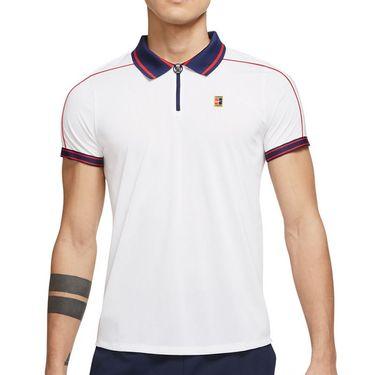 Nike Court Dri Fit Advantage Slam Polo Shirt Mens White/Binary Blue/University Red DA4325 100