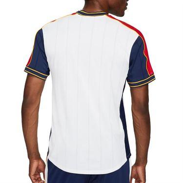 Nike Court Dri Fit Slam Crew Shirt Mens White/University Red/Binary Blue DA329 100
