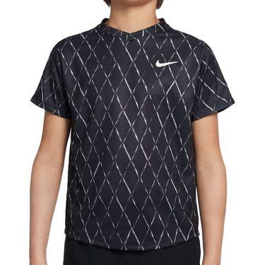 Nike Court Boys Dri Fit Victory Crew Shirt Black/White DA4378 010