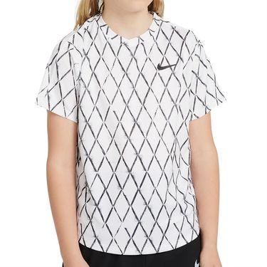 Nike Court Boys Dri Fit Victory Crew Shirt White/Black DA4378 100
