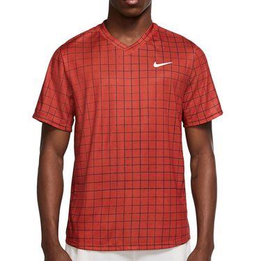 Nike Court Dri Fit Victory Crew Shirt Mens Cinnabar/White DA4398 671
