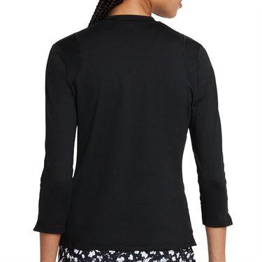 Nike Court Dri Fit UV Victory 3/4 Sleeve Top Womens Black/White DA4730 010