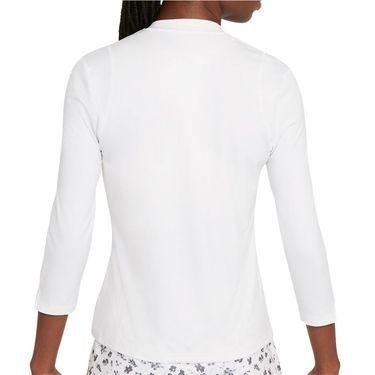 Nike Court Dri Fit UV Victory 3/4 Sleeve Top Womens White/Black DA4730 100