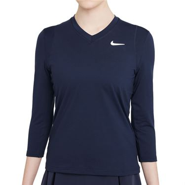 Nike Court Dri Fit UV Victory 3/4 Sleeve Top Womens Obsidian/White DA4730 451
