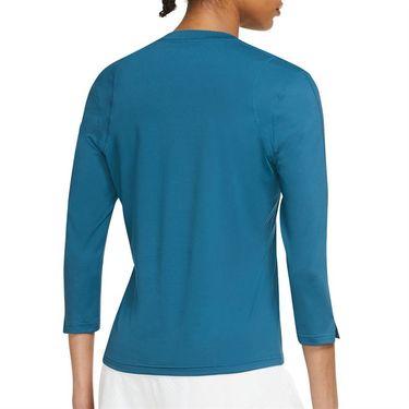 Nike Court Dri Fit UV Victory 3/4 Sleeve Top Womens Brigade Blue/Brigade Blue/White DA4730 453