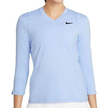 Nike Court Dri Fit UV Victory 3/4 Sleeve Top Womens Aluminum/Black DA4730 468