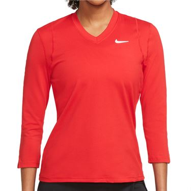 Nike Court Dri Fit UV Victory 3/4 Sleeve Top Womens University Red/White DA4730 657