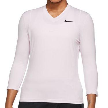 Nike Court Dri Fit UV Victory 3/4 Sleeve Top Womens Regal Pink/Black DA4730 695
