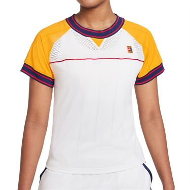 Nike Court Dri Fit Slam Top Womens White/University Gold DC9462 101