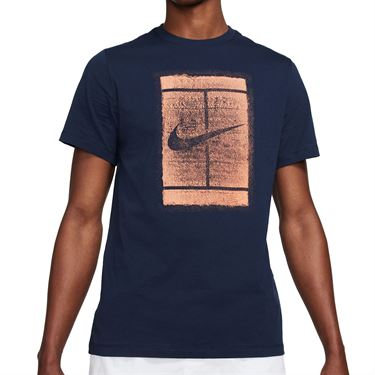 Nike Court Logo Tee Shirt Mens Obsidian/Apricot Agate DD2228 451