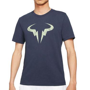 Nike Rafa Logo Tee Shirt Mens Obsidian/Lime Glow DD2248 451