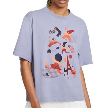Nike Court Dri FIT Tee Shirt Womens Indigo Haze DD9628 510