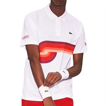 Lacoste Novak Spiral Graphic Polo Shirt Mens White/Ladybird Cherry Red DH6946 1KU