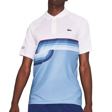 Lacoste Novak Spiral Graphic Polo Shirt Mens White/Cosmic/Ultramarine DH6946 WTM