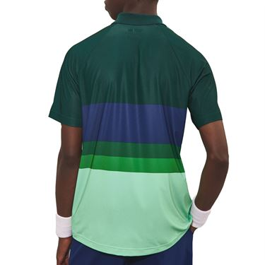 Lacoste Novak Ombre Colorblock Polo Shirt Mens Cosmic/Forest Green DH6959 1MG