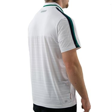Lacoste SPORT French Open Edition Second-Skin Polo  - White/Green Bottle/Navy Blue