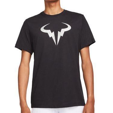 Nike Court Dri Fit Rafa Tee Shirt Mens Black/Metallic Silver DJ2582 011