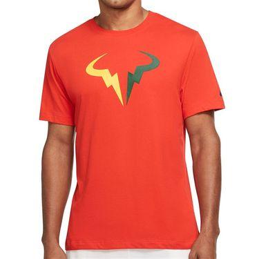 Nike Court Dri Fit Rafa Tee Shirt Mens Chile Red/Gorge Green/Laser Orange DJ2582 673