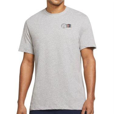 Nike Court Dri Fit Tee Shirt Mens Dark Grey Heather DJ2596 063