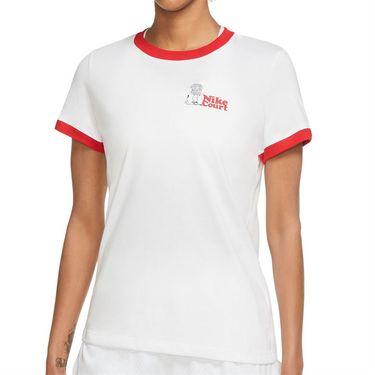 Nike Court Dri Fit Tee Shirt Womens White/University Red DJ2781 100
