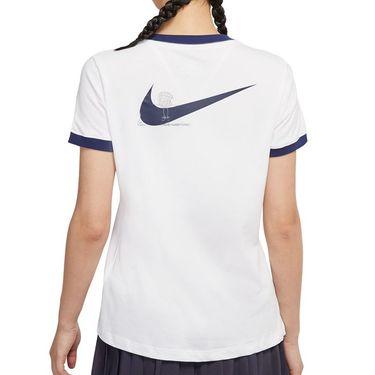 Nike Court Dri Fit Tee Shirt Womens White/Binary Blue DJ2781 102